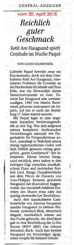 Zeitungsartikel zum Konzert von Ketil Haugsand am 28.04.2018