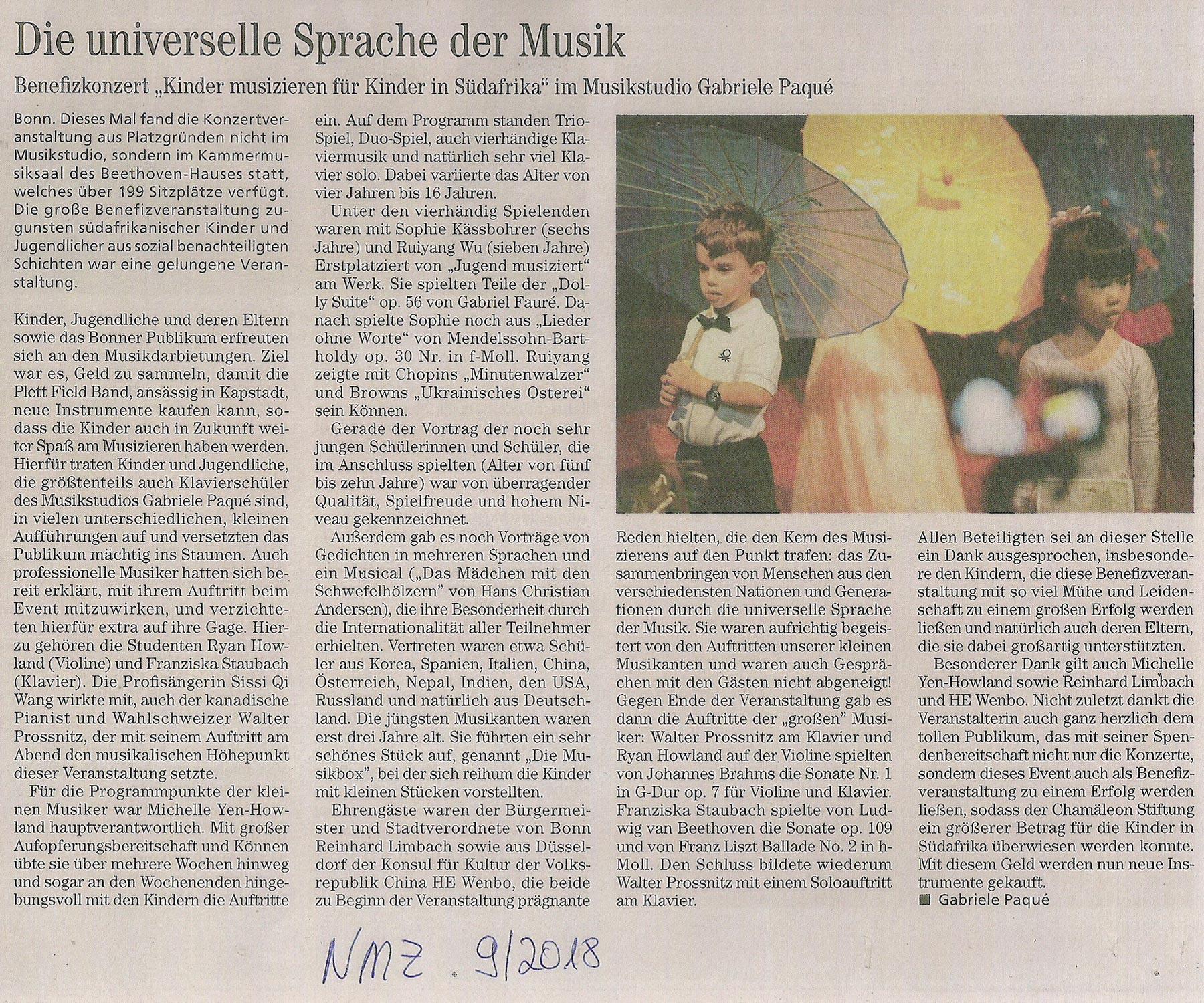 Zeitungsartikel der NMZ zur Benefizveranstaltung 2018 im Musikstudio Paqué